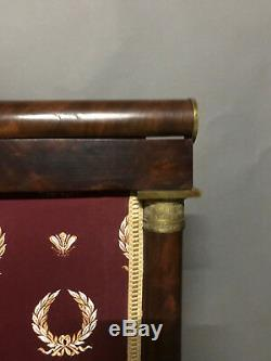 Display Firewall Fireplace Empire Era Mahogany And Gilt Bronze 19th Nineteenth