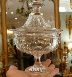 Drageoir En Cristal Taillé À Côtes Plates, Baccarat Era Napoleon III XIX