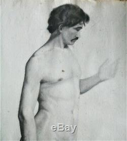 Drawing-charcoal Original-nude Masculine- Epoque XIX Eme Siecle-study Of Nude