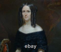 E. Hiéblot Portrait Of Women Epoque Louis Philippe Pst Of The 19th Century