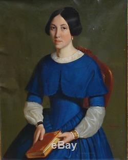 Emile Roumens Portrait Of Woman Louis Philippe Era H / T Nineteenth Century