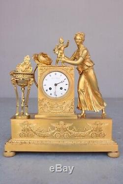 Empire Clock Epoque Nineteenth Child And Rose