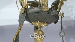 Empire Period Chandelier 9 Fires Gilt Bronze And Patinated, XIX