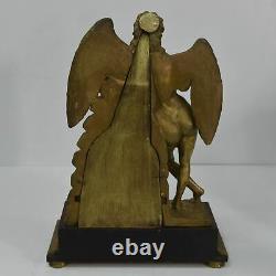 Empire-era Automaton Clock In 19th Century Gilded Wood