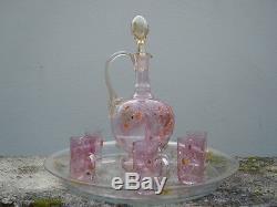 Enamelled Glass Liquor Service Decoration Flowers Xixth