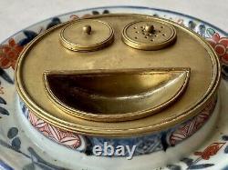 Encrier En Porcelain Imari Et Bronze Doré Époque Xixème Japon Antique Inkwell