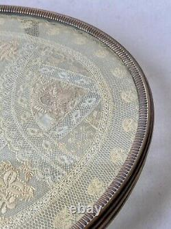 Especially Silver Bronze Table & Embroidered Fabric Lace Glass Age 19th