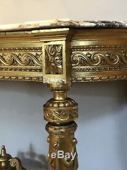 Exceptional Wood Console Dore Napoleon III XIX Eme