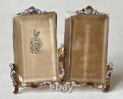 Frame Photo Holder Double Cloisonné Enamels & Beveled Glass Era XIX