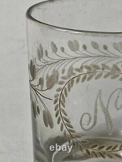 Glass Crystal Gobelet Graved Initial N Crown Of Laurier Age 19th