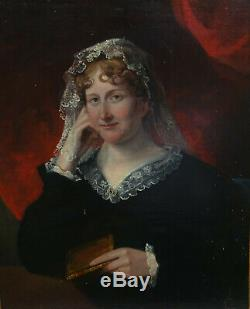 Glover Portrait Of A Woman With A Headdress Romantic Era H / T 19th Century