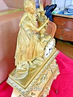 Golden Pendulum With Gold Leaf Period Restoration 19th Century