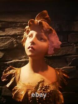 Grand Buste Sculpture Femme Late 19th Belle Time Platre Signed R. Aurili
