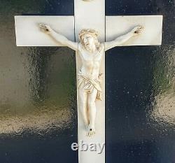 Grand Crucifix Christ Os De Dieppe Sculpts Xixeme High Period. 38.5cm Religious