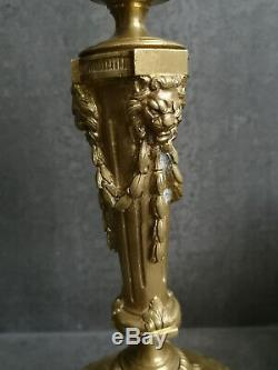 Grand Gold Candlestick Bronze Louis XVI Style XIX Time To Lions Head