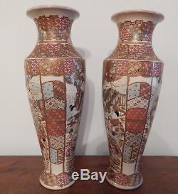 Grand Pair Vases Ceramic Japanese Satsuma Meiji Era XIX Signed