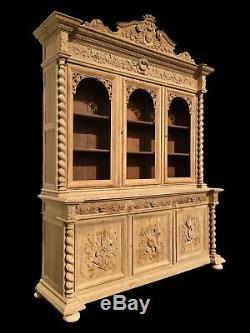 Great Renaissance Library In Plain Oak, Xixth Century