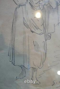 Gustave Doré Study Pencil Drawing Signed 19th Woman Era At The Jarre
