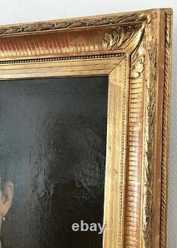 Hst Oil On Canvas Portrait Of Woman With Jewels Frame Gilded Wood 19th Century