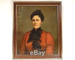 Hst Painting Portrait Young Woman Elegant Belle Epoque Robiquet Nineteenth