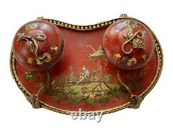 Ink In Plate Painted Polychrome Decor To Chinese 19th Century Antique Inkwell