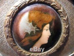 Jewelry Box Brass Miniature Porcelain Era Nineteenth Century