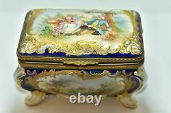 Jewelry Box In Painted Porcelain Signed Mauritius Era Xixth In Taste
