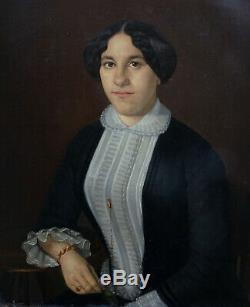 L. G. Moreau Portrait Of Woman Hst Louis Philippe Nineteenth Century