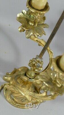 Lamp Chandelier Screen Louis XV Style Rocaille, Gilt Bronze, XIX Eme
