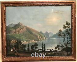 Landscape Gouache Painting At 19th Century Lake
