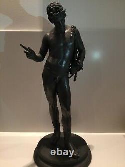 Large Bronze Narcissus From Pompeii Grand Tour Era XIX 61 CM