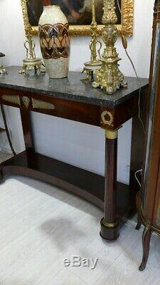 Large Console Empire Period Full Columns, Marble Top, Early XIX