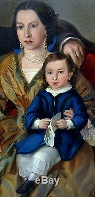 Large Family Portrait Napoleon III Hst Nineteenth Century (130-97 Cm)