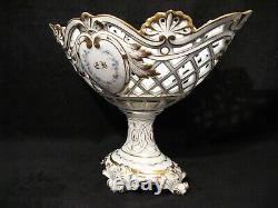 Large Open Cut In Painted Porcelain And Gold 19th Century