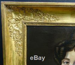 Leonardo Poyet Portrait Of Female Epoque Louis Philippe Hst From Nineteenth Century