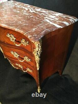 Louis XV Curved Cabinet In Marquetry, 19th Century Era