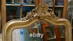 Louis XV Style Mirror In Wood And Golden Stuc At La Feuille, 19th Century