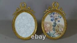 Louis XVI Oval Frame Pair In Bronze And Golden Brass, Late 19th Century