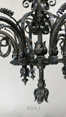 Lustre Of Neo-gothic Style Viollet Le Duc En Fer Et Tôle, Late 19th Century