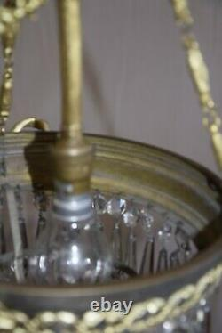 Lustre-suspension, Bronze And Pampilles, Former Gas Beak At The End Of The 19th Century
