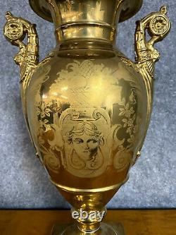Magnificent Empire Vase In Porcelain With Gold Background 19th Century / H45cm