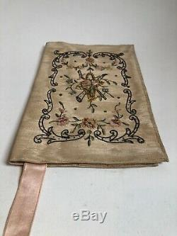 Magnificent Old Book Binding Cloth Or Pouch Embroidered Xixth