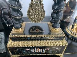 Magnificent Poetic Clock Napoleon III Era With Columns 19th