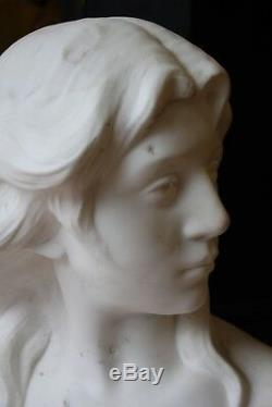 Marble Bust Xixth, In The Style Of Falguiere