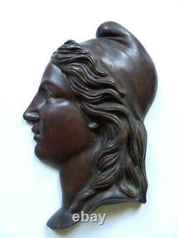 Marianne Profile 19th In Bronze Patinated Epoque Napoleon III 22.5 CM