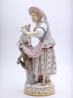 Meissen Porcelain Statuette Of Bergère Victor Steel Xixth
