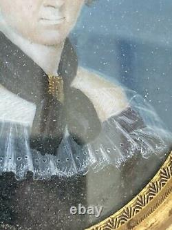 Miniature Paint Portrait Elegant Woman Signed Epoque XIX Ème Antique Painting