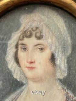 Miniature Painting Portrait Of Woman At The Hair Age XIX Antique Painting