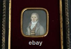 Miniature Portrait Dhomme In Frock Epoque End Eighteenth And Early Nineteenth Century