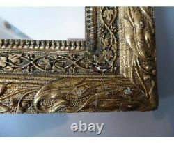 Mirror Ancient In Golden Wood Plant Decoration Era Late 19th 25x31cm